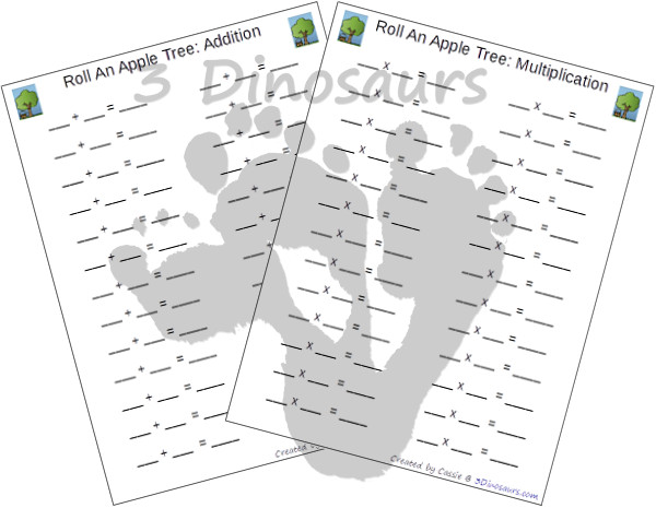 Free Roll an Apple Tree Printable - 3 Levels of learning: counting, addition, and multiplication - 3Dinosaurs.com