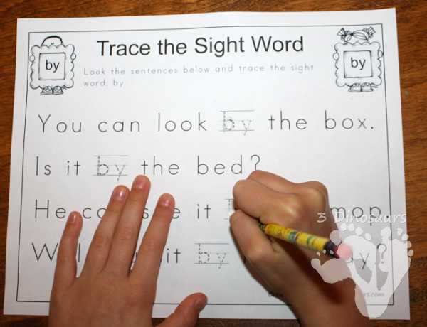 Romping & Roaring First Sight Words: Trace the Sight Word - 3Dinosaurs.com