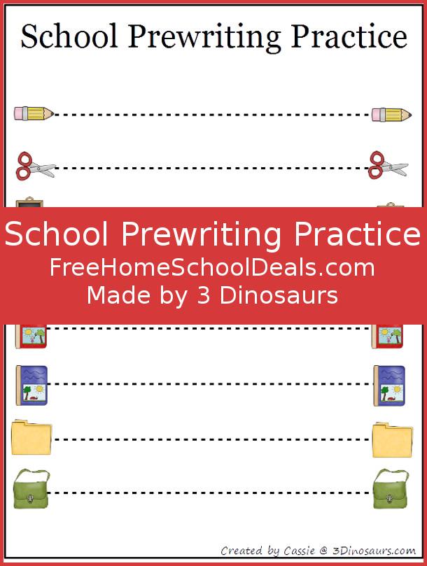 Free School Theme Prewriting Printables for Free Homschool Deals - 3Dinosaurs.com