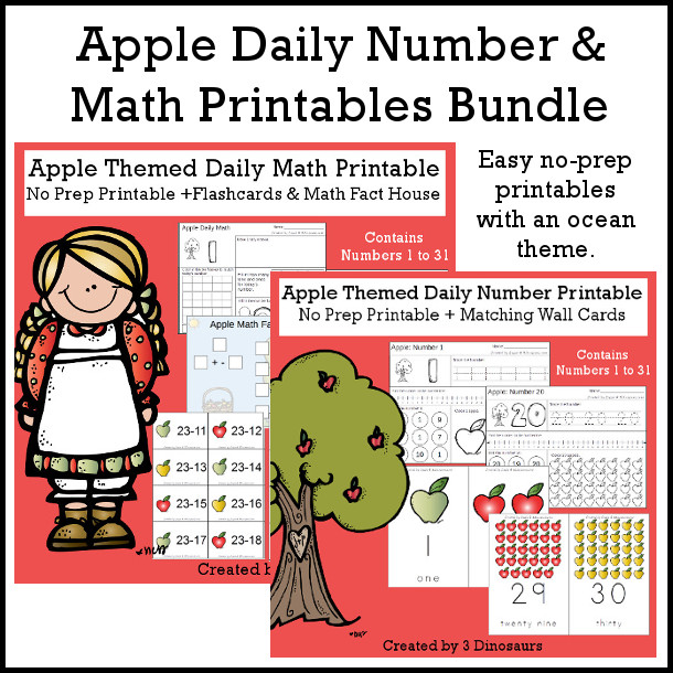 Apple Daily Number & Math For the Fall - flashcards for addition & subtraction, math fact house, no-prep printables $7.50 - 3Dinosaurs.com