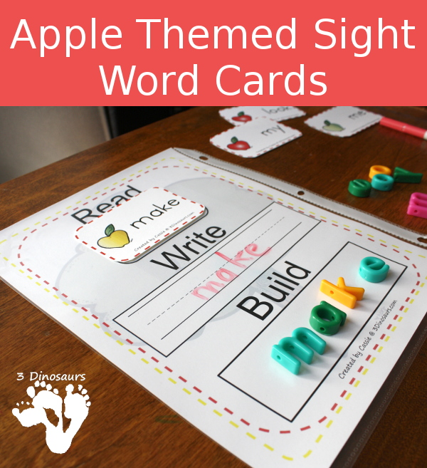 Apple Themed Sight Word Cards - All 220 Dolch Sight Words & 95 Nouns $ - 3Dinosaurs.com