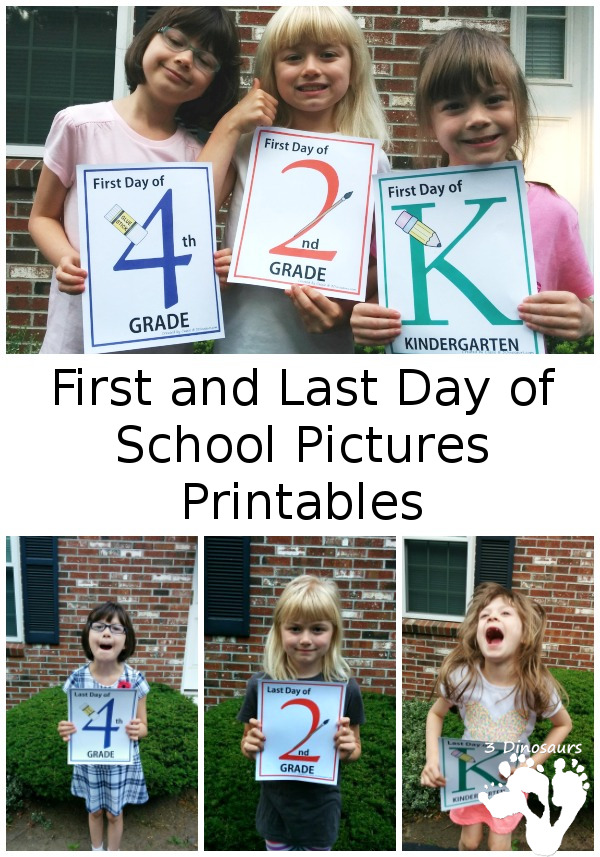 Free First & Last Day of School Pictures Printables - 3Dinosaurs.com