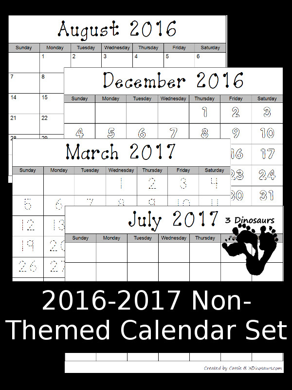 2016-2017 Non-Themed Calendar Set