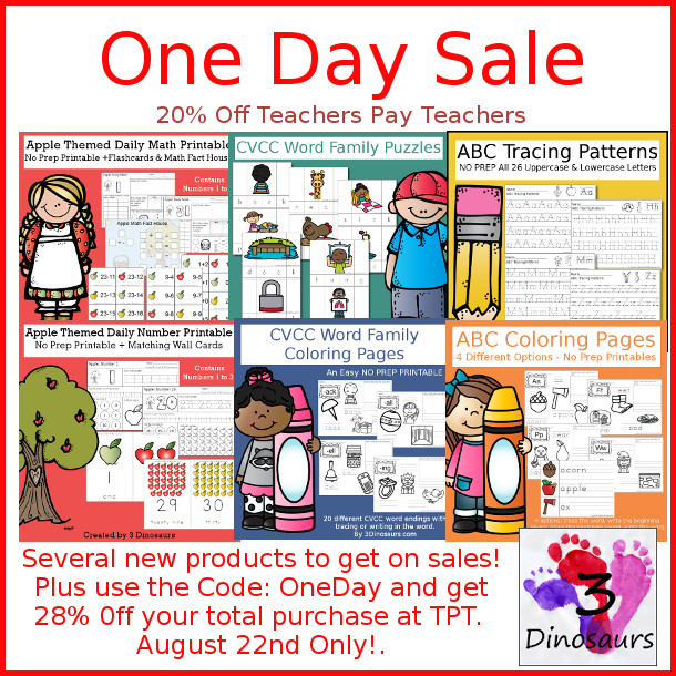 One Day Sale on TPT Only! - 3Dinosaurs.com