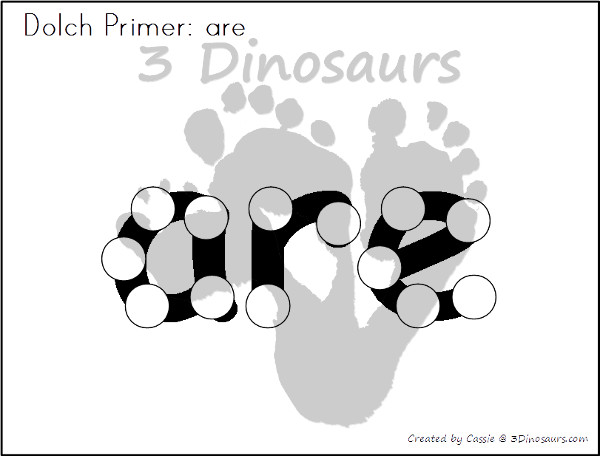 Free Primer & First Grade Sight Word Dot Marker - all 52 primer and 41 first grade sight words - 3Dinosaurs.com