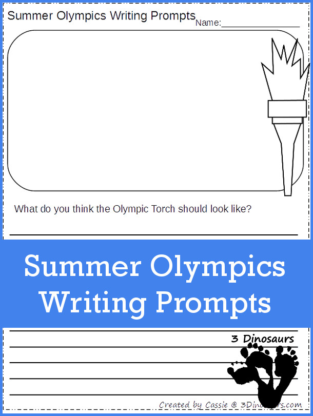 Free Summer Olympics Writing Prompts - 10 pages of printables - two types of lines - 3Dinosaurs.com