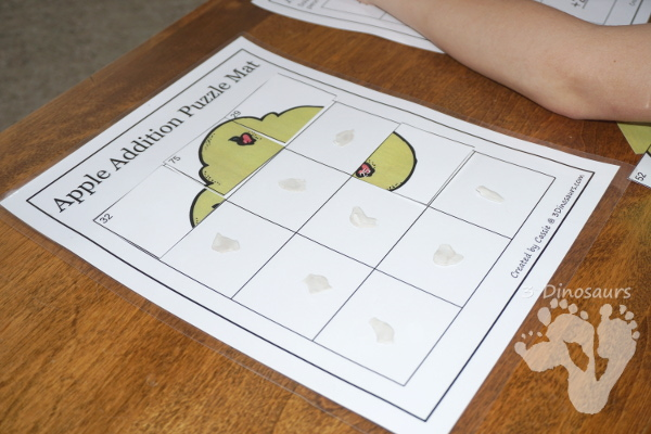 Free Apple Themed Double Digit Addition Puzzles - fun way to make math a hands-on activity - 3Dinosaurs.com