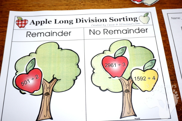 Free Apple Long Division Sorting Activity - sorting page, 12 apples and long division writing page - 3Dinosaurs.com