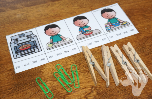 Free Apple Pie Sequencing Clip Cards - 4 clip cards, sequencing cards and a writing page - 3Dinosaurs.com