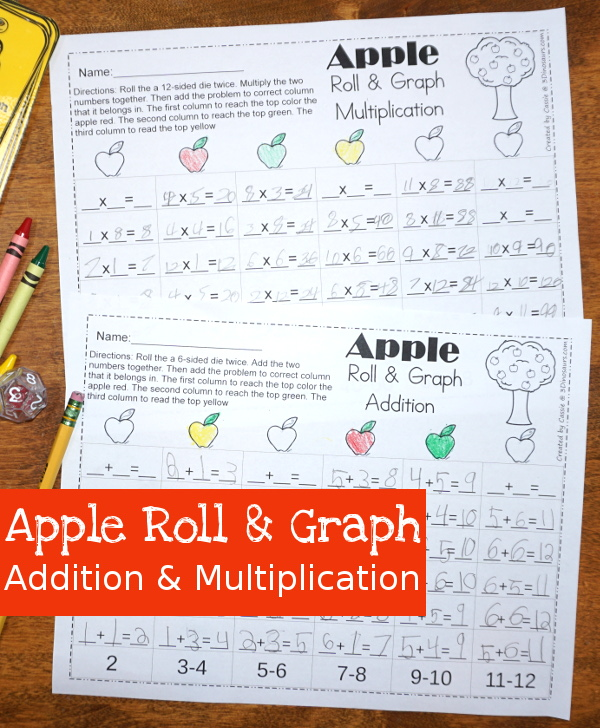 Easy to Use Free Apple Roll & Graph Math: for addition and multiplication - 3Dinosaurs.com