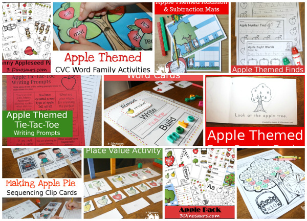 35+ Apple Activities from 3 Dinosaurs: crafts, sensory bins, hands-on activities, printables and more