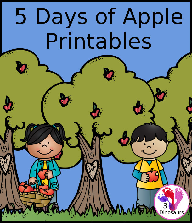 5 Days of Red, Green and Yellow Apple Printable Fun!  - 3Dinosaurs.com