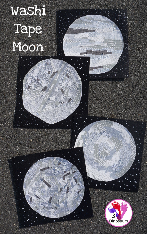 Washi Tape Moon - fun fine motor moon craft for kids to make - 3Dinosaurs.com