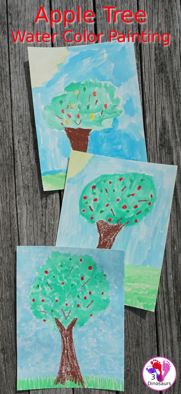 Fun Apple Trees Watercolor And Oil Pastels 3 Dinosaurs