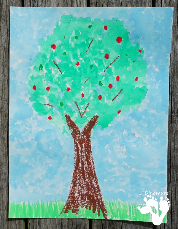 Fun Apple Trees: Watercolor and Oil Pastels - easy to do watercolor painting activity for kids of different ages - 3Dinosaurs.com