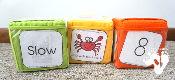 Free Crab Walk Gross Motor Dice -  3 movements with speed dice included with dice and dice inserts - 3Dinosaurs.com