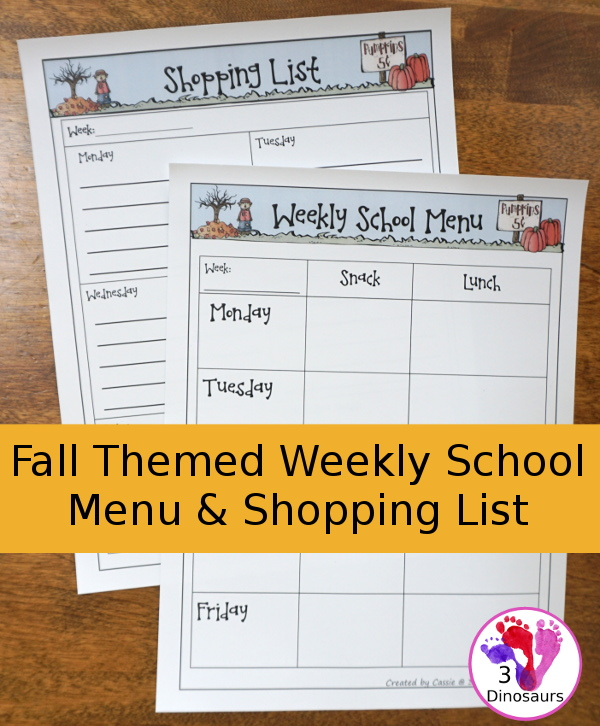 Free Fall Theme School Lunch Menus and shopping list with monthly goals - 3Dinosaurs.com