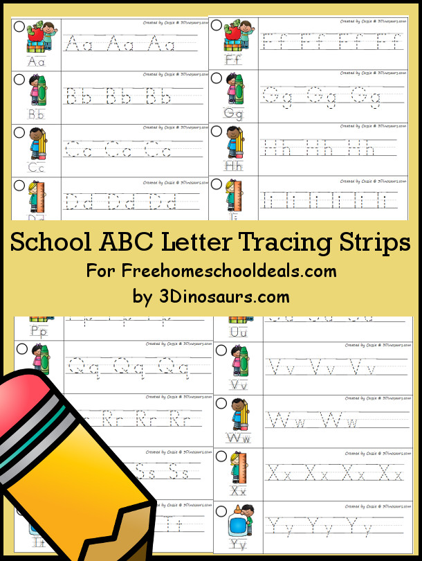 School Supplies Themed ABC Tracing Strips | 3 Dinosaurs