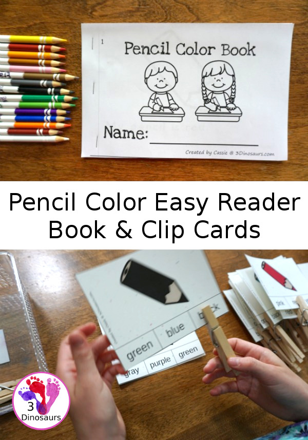 Free Pencil Color Themed Clip Cards & Easy Reader Book - 11 clip cards with matching easy reader book - 3Dinosaurs.com
