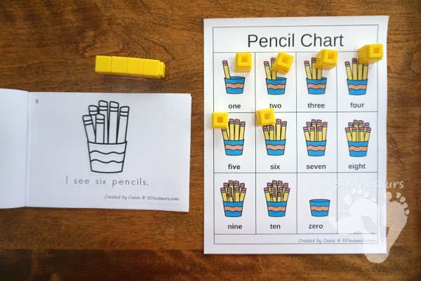 Free Pencil Number Counting Book & Chart - numbers 0 to 10 with matching number chart - 3Dinosaurs.com