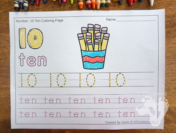 No-Prep Pencil Themed Number Color and Trace - easy no-prep printables with a fun pencil themed theme 44 pages with two options for the numbers tracing or writing $ - 3Dinosaurs.com #noprepprintable #schoolprintables #numbersforkids