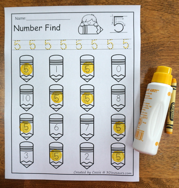 Pencil Number Find - easy to use no-prep printable numbers 0 to 20 $ - 3Dinosaurs.com