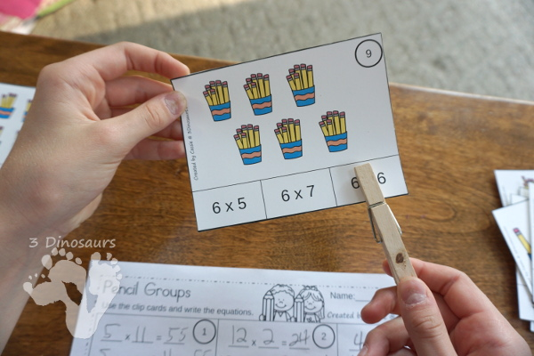 Free Pencil Groups Multiplication Clip Cards - 12 clip cards with matching worksheet - 3Dinosaurs.com #clipcards #freeprintable #multiplication #backtoschool