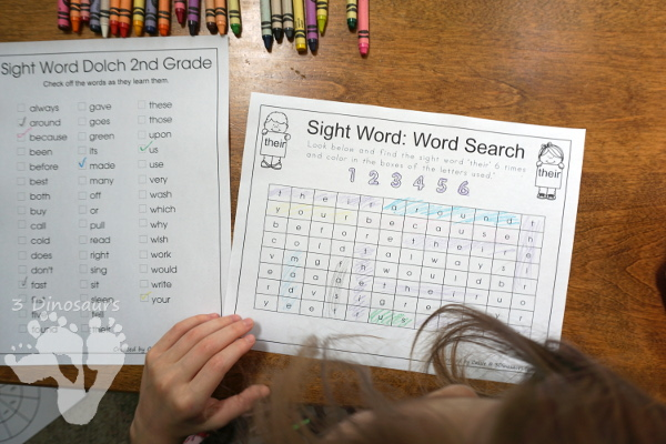 Romping & Roaring Second Grade Sight Word Packs - all 46 words together in nice package with 10 activities for each work PLUS extras only in the set - 3Dinosaurs.com