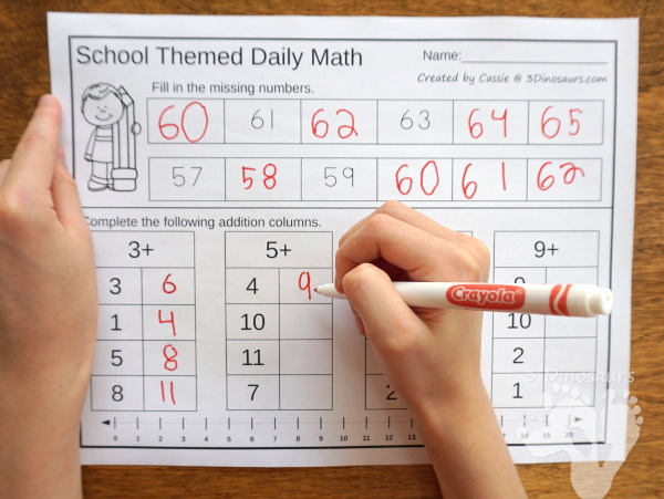No Prep School Themed Addition & Subtraction and Multiplication & Division - 30 pages no-prep printables with a mix of addition and subtraction or multiplication and division activities plus a math center activities - 3Dinosaurs.com #noprepmath #tpt #addition #subtraction #multiplication #division #backtoschool