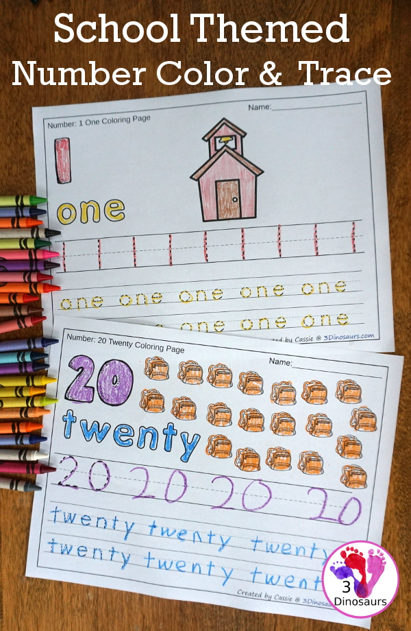 School Number Color & Trace - 6 fun themes with loads of school themes - 3Dinosaurs.com