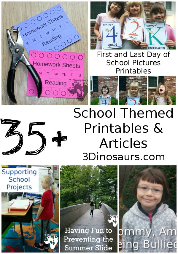 School Themed Activities & Printables on 3 Dinosaurs