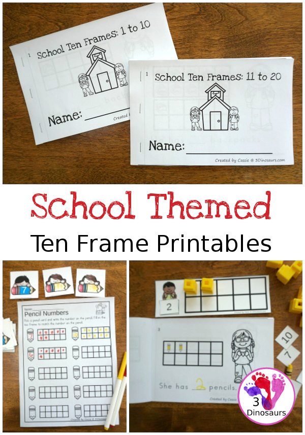 School Themed Ten Frame Activities | 3 Dinosaurs