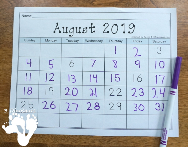 7 Non-Themed Calendars for August 2019 – July 2020 with tracing, dot the number, coloring, writing and tracing - 3Dinosaurs.com