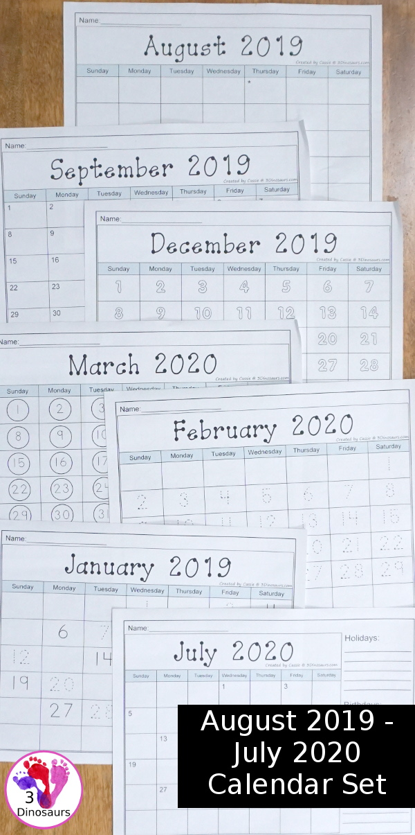 December 2020 Tracing Calendar Non Themed Calendars Set for August 2019 – July 2020   3 Dinosaurs