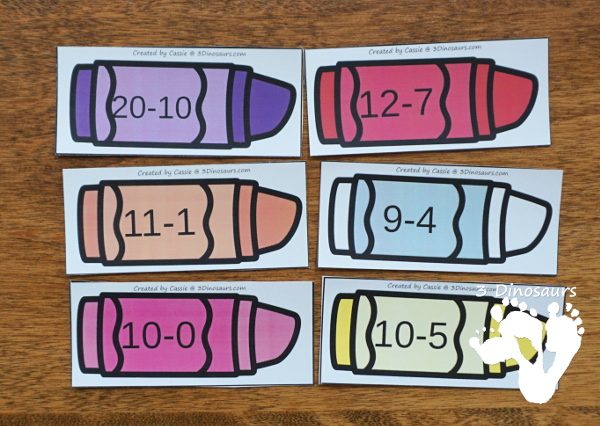 Free Crayon Themed Subtraction Sorting - working on 3 equations for each number on the crayon box with a recording worksheet - 3Dinosaurs.com