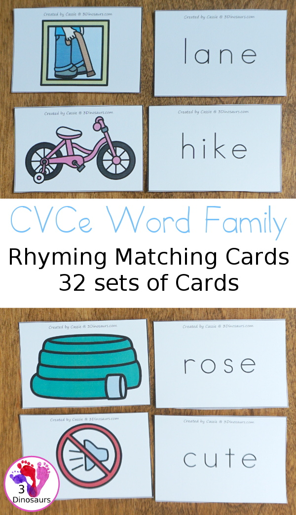 Free CVCe Word Family Matching Cards - 32 sets of cards for matching picture and rhyming word plus see ways to use them - 3Dinosaurs.com