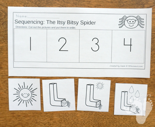 Free Sequencing Mini: Itsy Bitsy Spider -  with clip cards, 3 part cards, cut & paste and  writing worksheet  - 3Dinosaurs.com #freeprintable #sequencingforkids #3dinosaurs