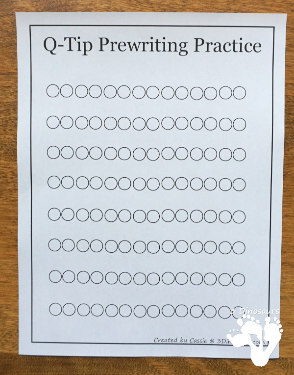 Fine Motor Practice With Q-Tip Prewriting Printables 3 Dinosaurs