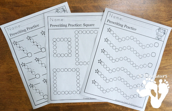 Free Q-Tip Prewriting Printables  - 10 pages of fine motor work for kids to work on prewriting with q-tip - 3Dinosaurs.com