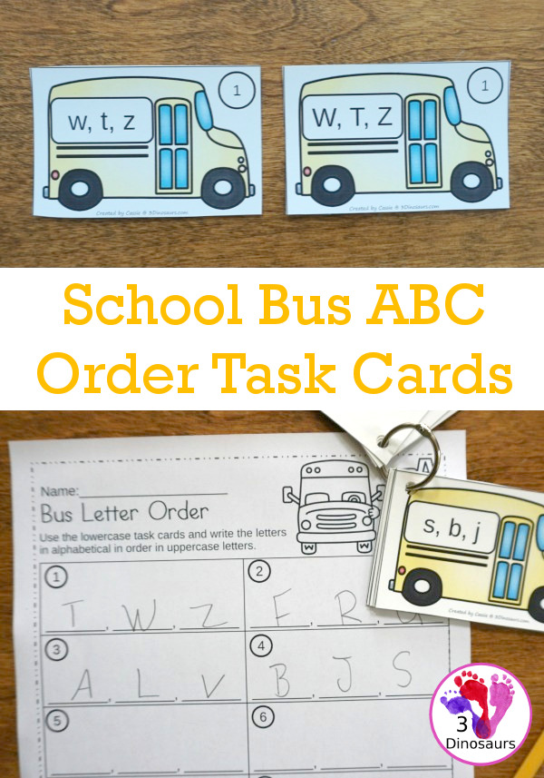 Free School Bus Theme ABC Order Task Cards - 2 set of cards with 3 recording sheet options to use to work on alphabet letter order - 3Dinosaurs.com