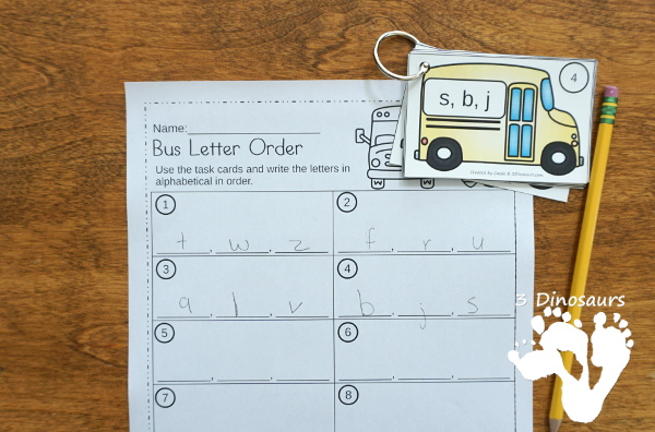 School Bus Theme ABC Order Task Cards - 2 set of cards with 3 recording sheet options to use to work on alphabet letter order - 3Dinosaurs.com