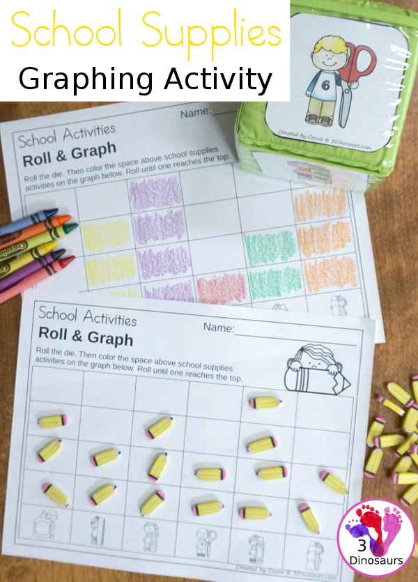 Free Back to School Supplies Themed Graphing - with 1 graphing sheet and 2 options for the dice. - 3Dinosaurs.com