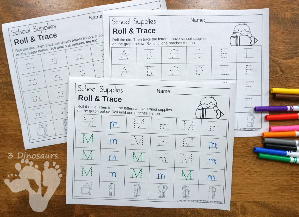 Back to School Supplies Themed Graphing - with ABCs, Numbers, and Shape graphing sheet options and 2 options for the dice. - 3Dinosaurs.com