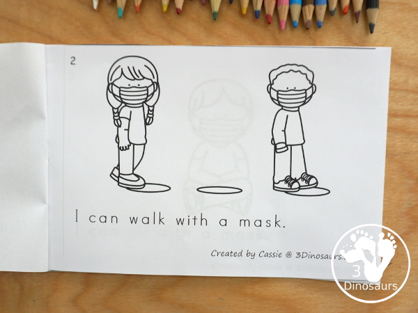 Free I Can Wear A Mask Easy Reader Book - a fun back to school book to help with kids that need to wear masks. It is a simple book with things they can do in school and wear a mask - 3Dinosaurs.com