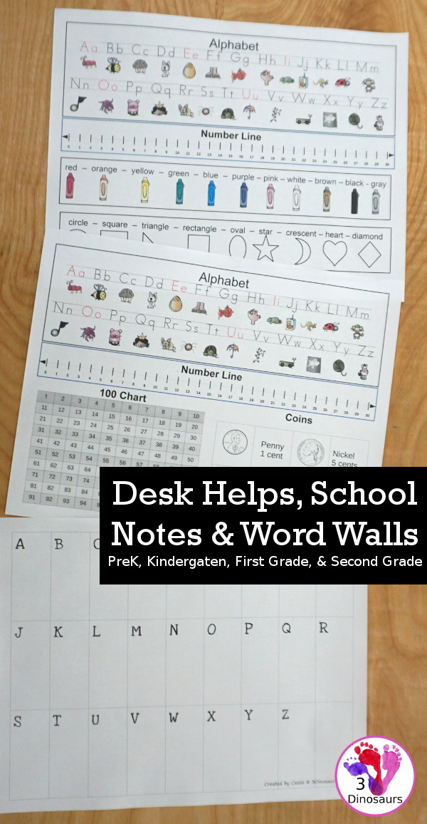 School Help Printables: Desk Helps, Notes & Word Walls - two desk helps for PreK and kindergarten and first grade and second grade, notes for school and word walls for the desk. - 3Dinosaurs.com