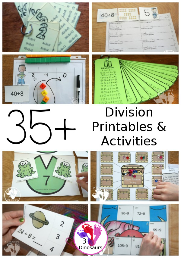 Division Activities & Printables on 3Dinosaurs.com