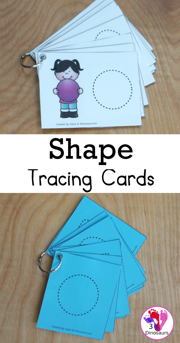 Free 2D Shape Tracing Cards - you have 12 shapes to trace with two options for the tracing - 3Dinosaurs.com