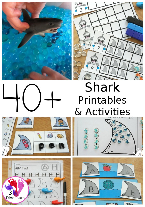 Shark Printables & Activities for Shark week with ABCs number, shapes, learning to read, crafts, paintings, sensory bins and more - 3Dinosaurs.com