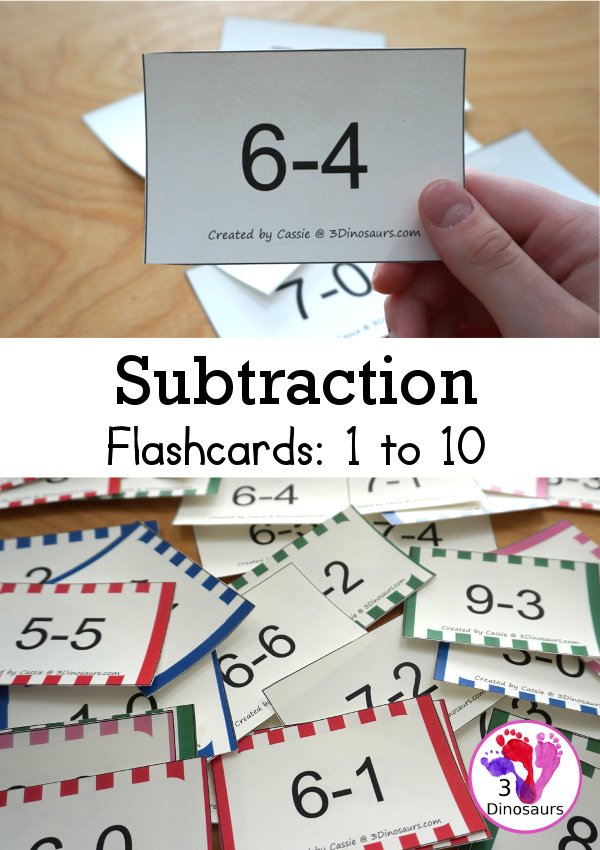 Free Subtraction Flashcards: 1 to 10 for kindergarten, first grade, and second grade with ways to use with and five color options - 3Dinosaurs.com