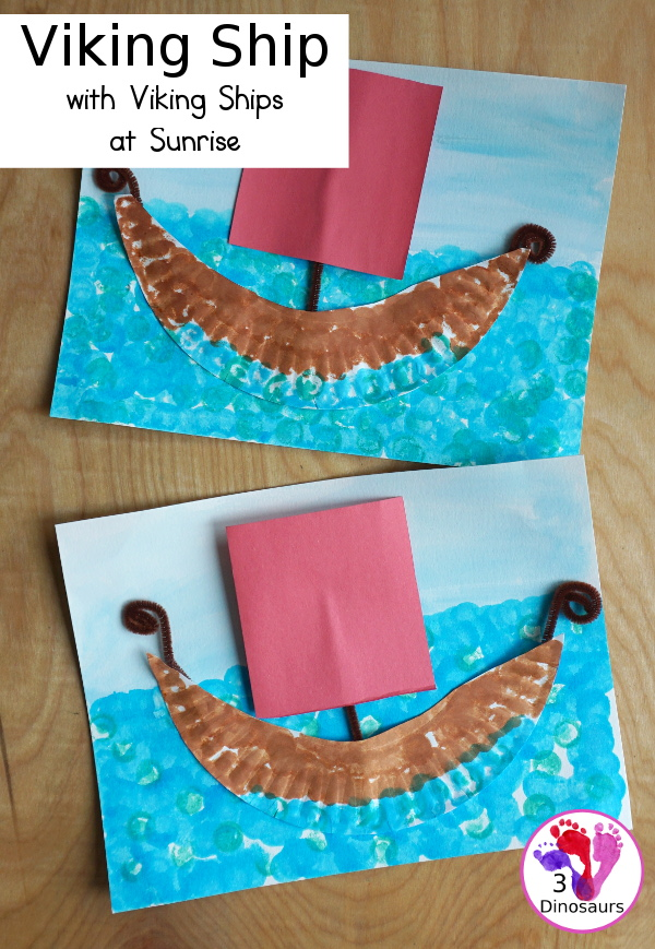 Easy to Make Viking Ship with Viking Ships at Sunrise - with a paper plate, dot markers and watercolors to make this fun craft of a Viking Ship for the Magic Tree House Book- 3Dinosaurs.com